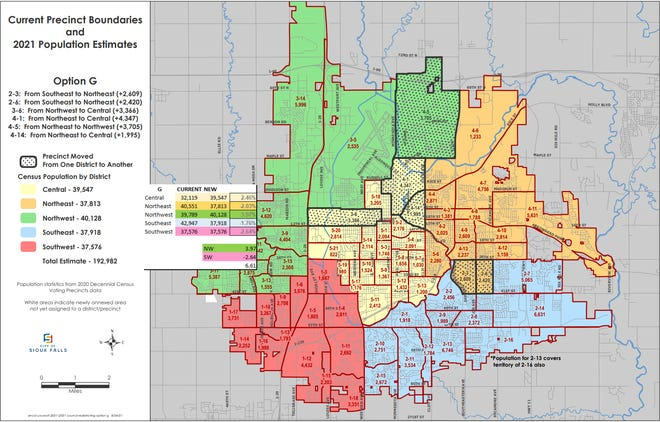 A potential redistricting map that would prevent David Barranco from running for Sioux Falls City Council.