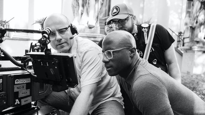 """James Laxton and Barry Jenkins on the set of """"The Underground Railroad."""""""