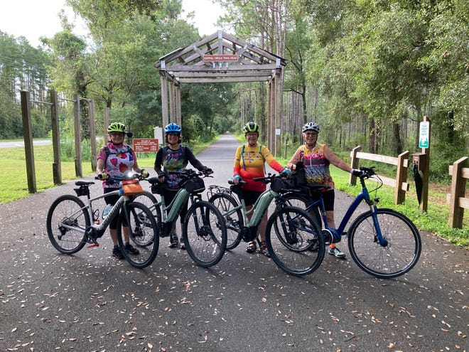 Jane Ann Mann, Laurie Koburger, Marcia Meale, and Sandy Berger ride ebikes. They are experiences ebikers with expertise on the sport to offer the community.