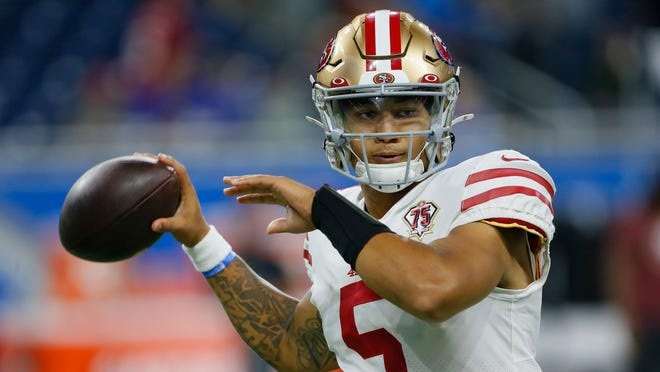 San Francisco 49ers quarterback Trey Lance throws during warmups before an NFL football game against the Detroit Lions in Detroit, Sunday, Sept. 12, 2021. (AP Photo/Duane Burleson)