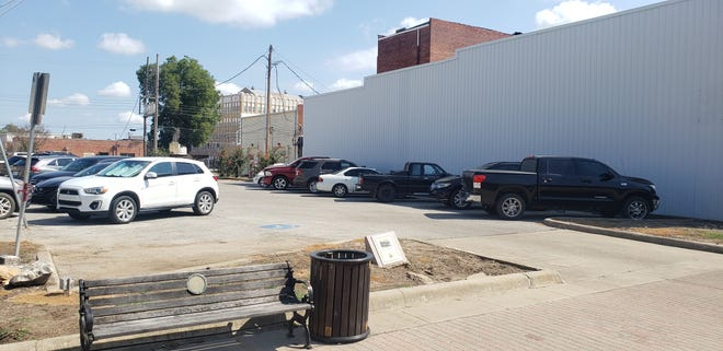 The parking lot as it is today.  Early next year, the Ardmore Beautification Council will partner with the Ardmore Main Street Authority to redo the space.