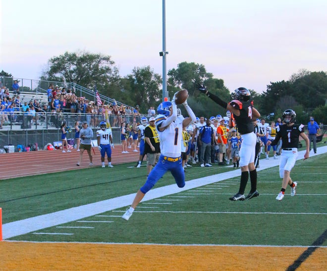 Circle's Ty Smith catches the first of his four touchdowns in the 42-35 win over Augusta on Friday, Sept. 17 at Hiller Stadium in Augusta, Kansas.