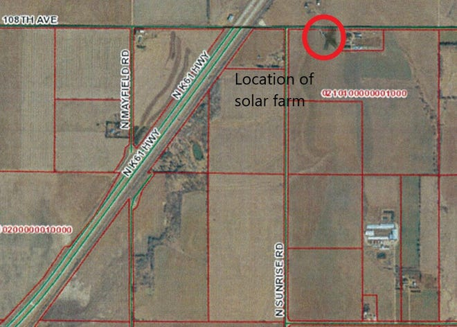 This map shows the planned location in northern Reno County of a 1.4-megawatt solar collector array built by Today's Power Inc., which will sell the power to Ark Valley Electric Cooperative. It's one of two farms planned, but the other, in western Reno County, does not require a permit.