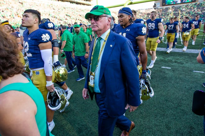 Notre Dame athletic director Jack Swarbrick after ND's 27-13 victory over Purdue, Saturday, Sept. 18, 2021, at Notre Dame Stadium.