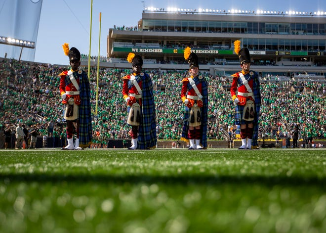 The Irish Guard on the field before the Notre Dame-Purdue game, Saturday, Sept. 18, 2021, at Notre Dame Stadium.