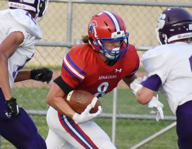 Alex Collver finished with more than 250 yards rushing and four touchdowns in the first half of New Hartford's 48-6 win over Cortland on Friday Sept. 17, 2021.