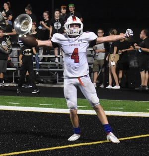 Senior Bryer LeCocq celebrates after scoring the go-ahead touchdown on a nifty trick play in the fourth quarter. Brody Lester handed the ball off to Christian McDonald who handed the ball off on a reversal to Brayden Phillippe, who in turn threw an absolute bomb to LeCocq for the score.