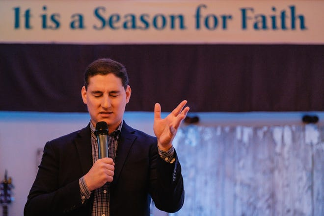 Josh Mandel speaks to a small group of approximately 15 attendees of his Faith and Freedom Rally Saturday, September 18 at the Faith Harvest Fellowship church in Orrville, Ohio.