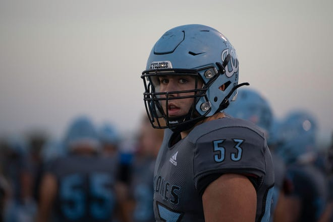 Pueblo West High School's Vladimir Dabovich watches the action from the sideline at Cyclone Stadium on Friday, Sept. 17, 2021.
