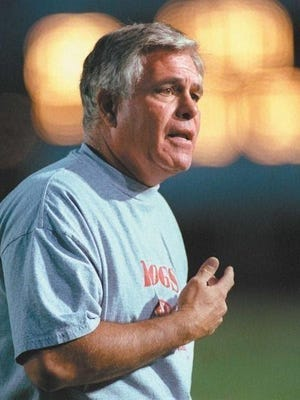 Former Pueblo Centennial High School head football coach Tom Brockman walked the sidelines with the Bulldogs for 19 seasons and is the winningest coach in Pueblo prep football history with 144 wins. [Chieftain file photo]