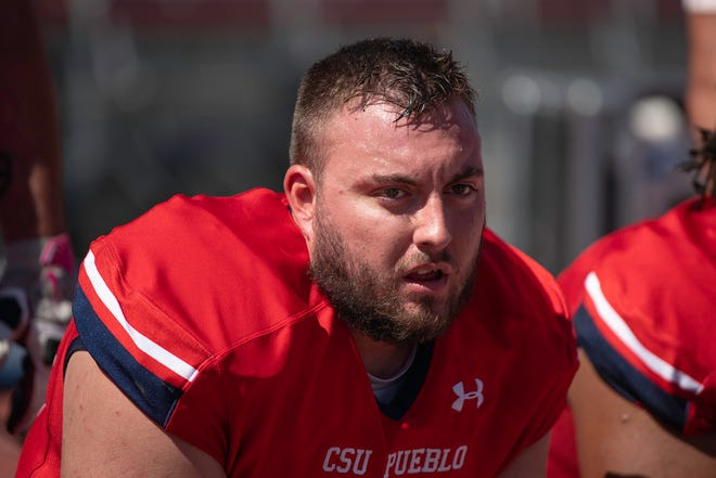 Colorado State University Pueblo's Jonah Stupar watches the defense in action during the matchup with Black Hills State at the ThunderBowl on Saturday September 18, 2021.