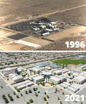 This combined photo compares Silverado High School in 1996 to what it and the surrounding Victorville area look like today.