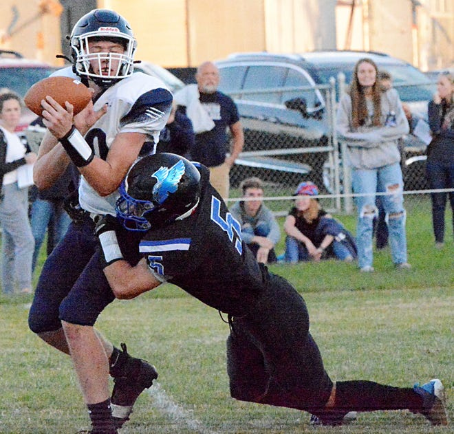 Florence-Henry linebacker Ashton Hanson hits Great Plains Lutheran quarterback Jacob Bartels and causes a fumble during their high school football game Friday night in Florence. The fourth-rated Class 9AA Falcons celebrated homecoming with a 47-0 win.