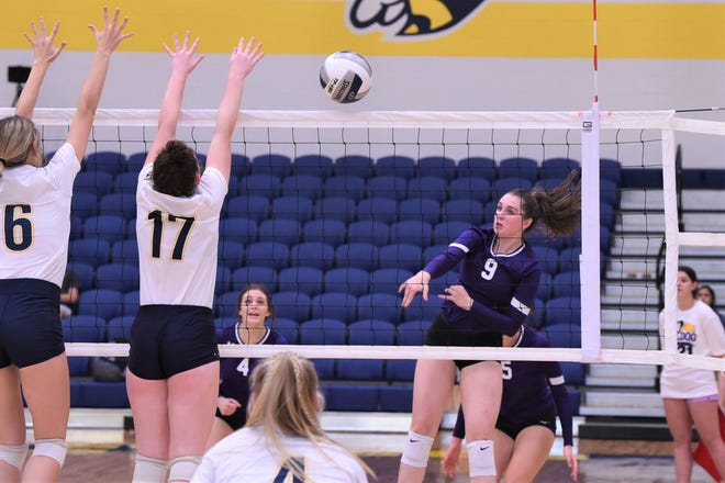 Wylie's Aliyah Jowers (9) follows through on a kill during Friday's match against Stephenville at the SHS gym. The Lady Bulldogs won in straight sets.