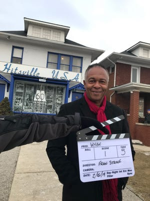 """Ray Parker Jr. appears in front of the Motown Museum in Detroit on Feb. 26, 2019, during the filming of the documentary """"Who You Gonna Call?"""""""