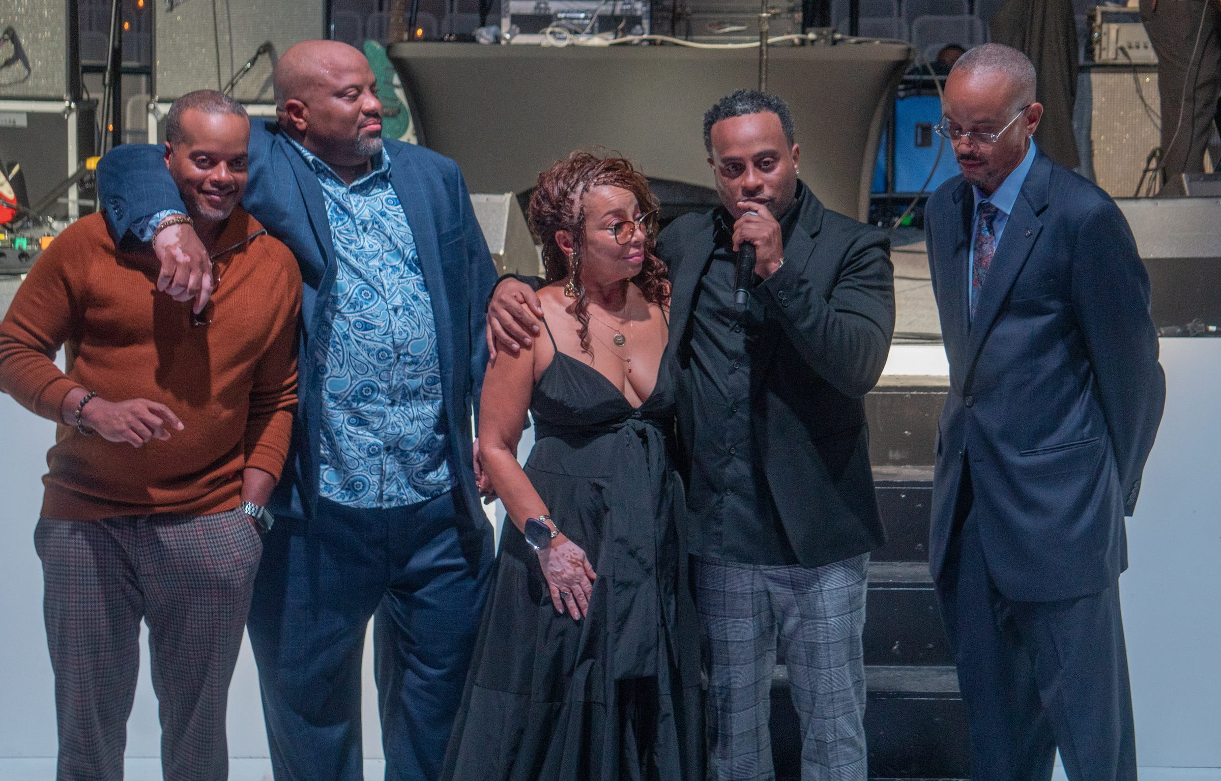 [LEFT to RIGHT] Rashid Mausi, Sulaiman Mausi,  President of The Right Productions Shahida Mausi Dorian Mausi and Malik Mausi addressing those in attendance for the 25 years of business celebration of The Aretha Franklin Amphitheater on September 17, 2021.