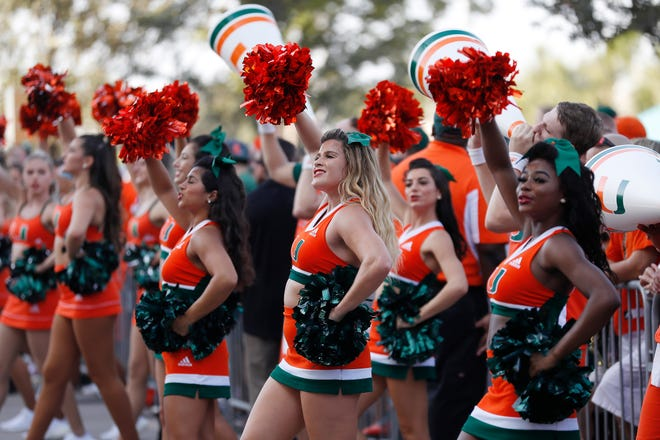 The Miami Hurricanes cheerleaders perform prior to Saturday's game against the Michigan State Spartans in Miami Gardens, Fla.