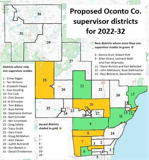 The proposed supervisor districts for Oconto County.