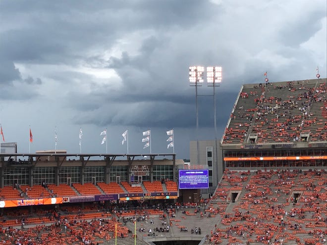 An ominous sky above Clemson's Memorial Stadium during a lightning delay late in the first half of Saturday's game.