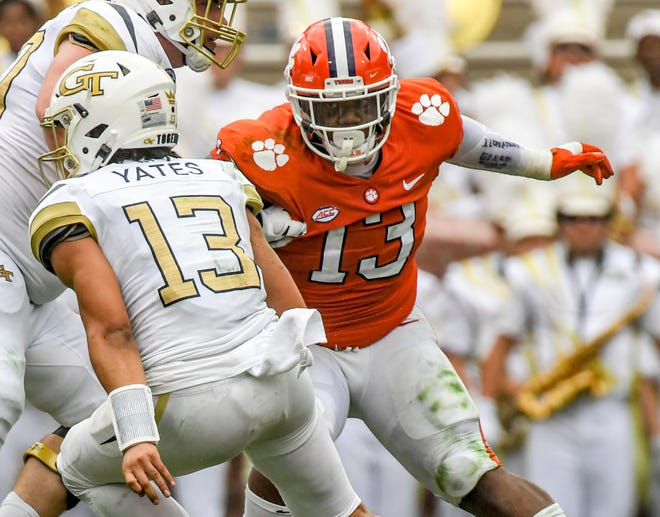Clemson defensive tackle Tyler Davis discovered after Saturday's game against Georgia Tech that he had suffered a torn bicep.