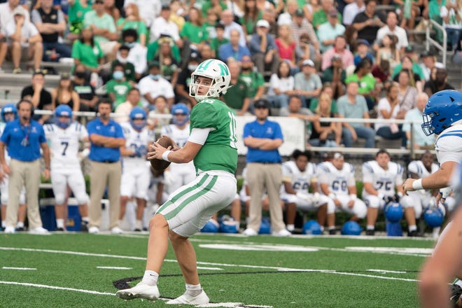 Newman quarterback Arch Manning looks to pass during a game against Vandebilt Catholic in New Orleans on Sept. 17.