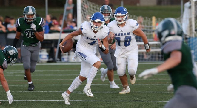 Oldham County's Sam Young gets out for a good run against South Oldham.Sept. 17, 2021