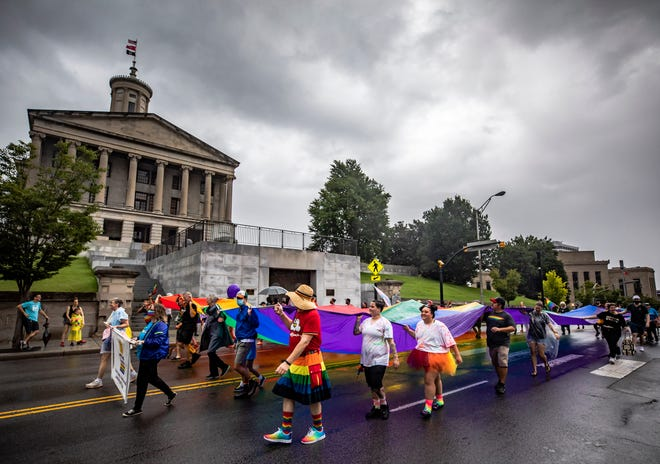 Nashville's Pride Parade makes its way past the Tennessee State Capitol Saturday, September 18, 2021.