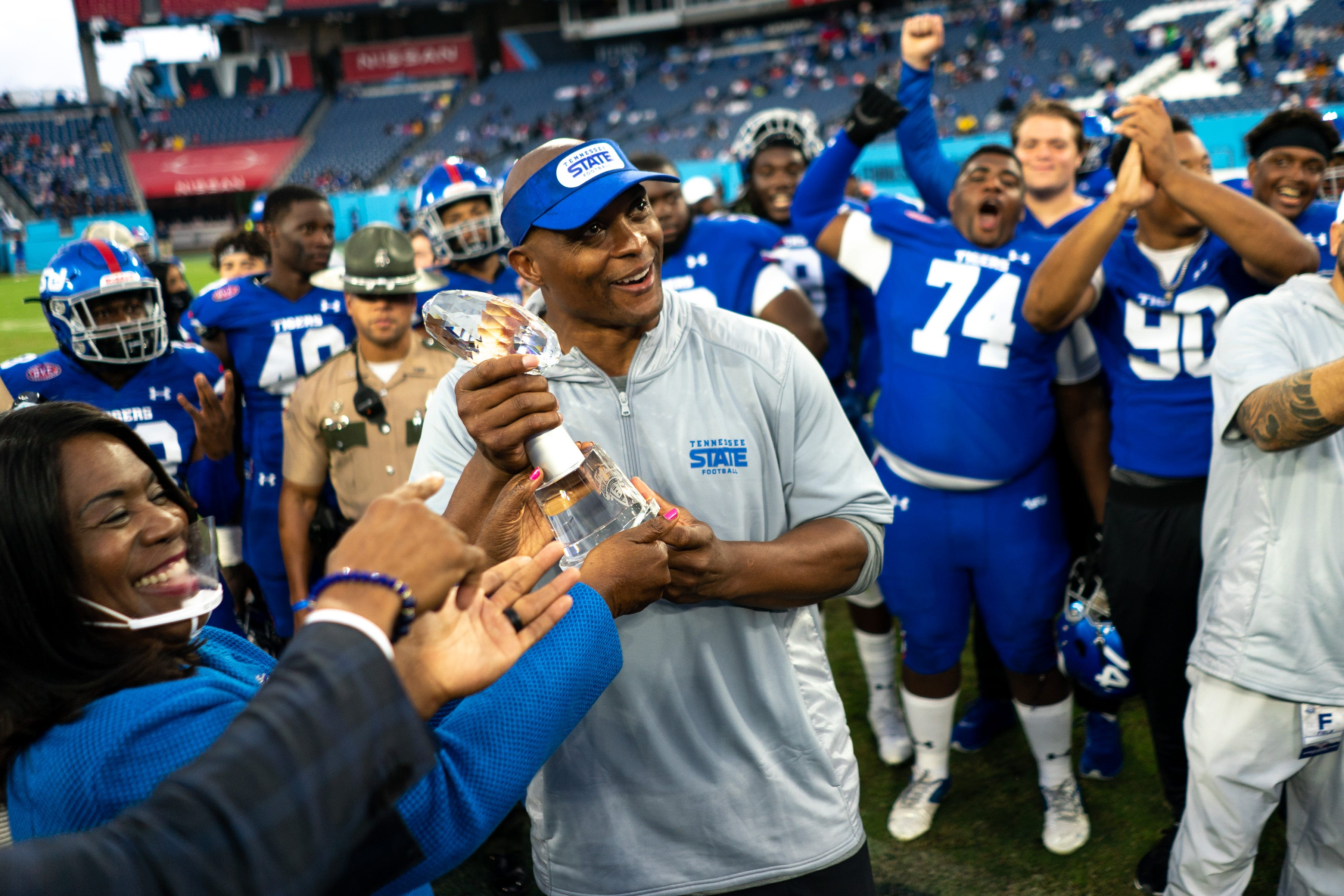 Eddie George talks about his first Tennessee State win coming at Nissan Stadium
