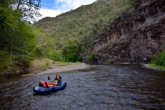 Kat Jacaruso floats the Gila River in 2016.