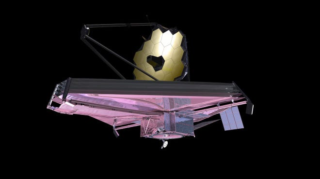 This artist's concept shows NASA's James Webb Space Telescope, which will be launched into orbit in December. Some of the images it beams back to earth may be showcased at the Farmington Public Library as part of a grant the institution received recently.
