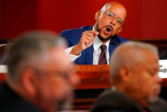 State Sen. Vincent Hughes, D-Philadelphia speaks during a Senate Intergovernmental Operations Committee hearing at the Pennsylvania Capitol in Harrisburg, Pa., Wednesday, Sept. 15, 2021. (AP Photo/Matt Rourke)