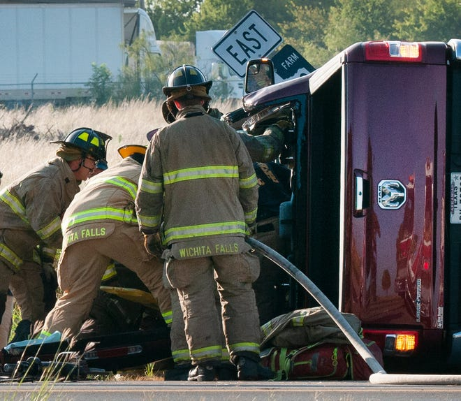 Wichita Falls emergency responders worked the scene of a pin-in accident Saturday morning on Airport Road.