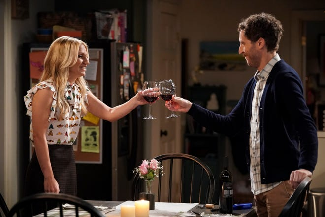 """Gina (Annaleigh Ashford), left, and Drew (Thomas Middleditch) celebrate her successful donation of a kidney to him in the Season 2 premiere of CBS comedy """"B Positive."""""""
