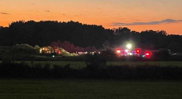 Emergency crews respond to a plane crash near Wadsworth Municipal Airport on Saturday.