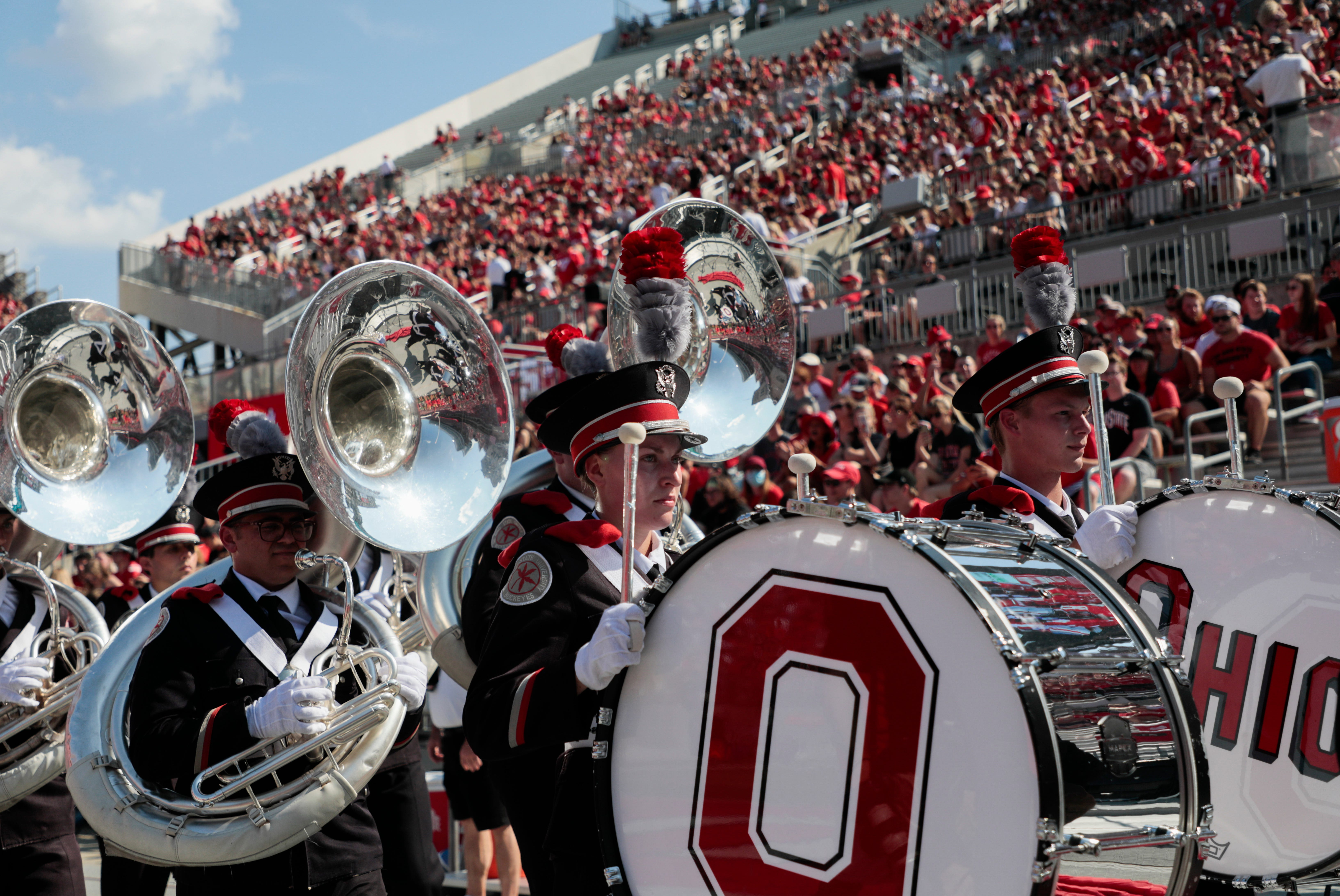 Members of the Ohio State Marching Band enters Ohio Stadium before a NCAA Division I football game between the Ohio State Buckeyes and the Tulsa Golden Hurricane on Saturday, Sept. 18, 2021 in Columbus, Ohio.
