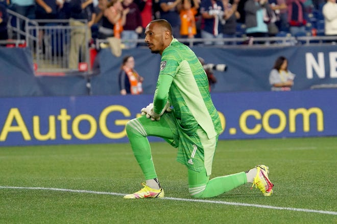 Columbus Crew goalkeeper Eloy Room will miss Saturday's match against CF Montreal with an adductor injury. (AP Photo/Mary Schwalm)