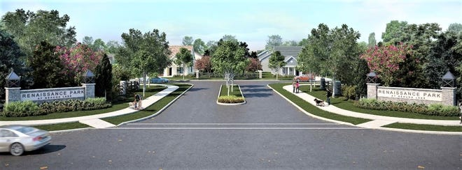 This is a rendering of what the entrance off Treat Road into Renaissance Park at Geauga Lake will look like.