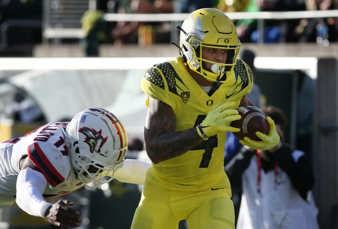 Wide receiver Mycah Pittman has started every game for Oregon this season.