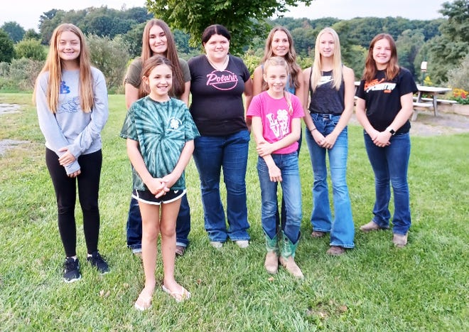 Somerset County 4-H is sending 10 4-H youth to the Pennsylvania 4-H Horse Show on Sept. 23-26, at the Grange Fairgrounds in Centre Hall. Shown from left are, first row: Kia Sampeer and Madison Reighard. Second row: Alayna Weighley, Emma Karinchak, Cheyanne Keslar, Lily Hetz, Sara Drake and Quinn Sampeer. These youth qualified at the county and district level to compete in their respective classes at the state level.
