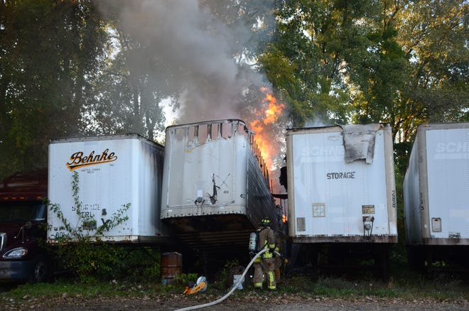 For nearly three hours Battle Creek firefighters fought a fire of old tires in a semi trailer  Saturday.