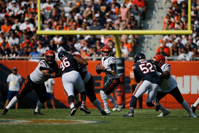 Cincinnati Bengals quarterback Joe Burrow (9) drops back to throw in the fourth quarter of the NFL Week 2 game between the Chicago Bears and the Cincinnati Bengals at Soldier Field in Chicago on Sunday, Sept. 19, 2021. The Bears held on to a halftime lead for a 20-17 win over the Bengals.