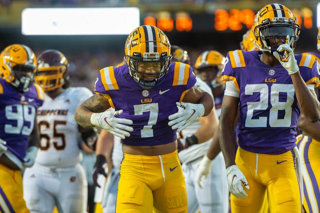 Derek Stingley Jr celebrates after making a tackle as The LSU Tigers take on Central Michigan Chippewas in Tiger Stadium. Saturday, Sept. 18, 2021.