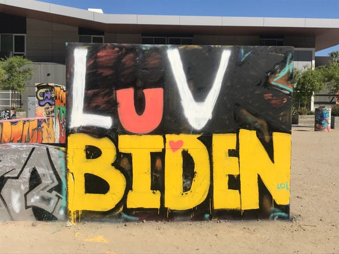 A crude anti-Biden message that appeared at Palm Springs' official Graffiti Yard on Saturday, Sept. 18, 2021, was painted over with a different message by Sunday, Sept. 19.