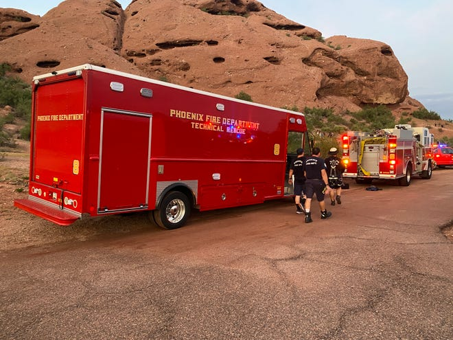 The Phoenix Fire Department rescued a hiker on Sept. 18, 2021, at Papago Butte Mountain.