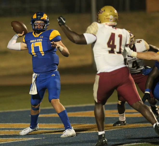 Angelo State University quarterback Hagen Garvin gets ready to pass against Midwestern State in a Lone Star Conference game at LeGrand Stadium at 1st Community Credit Union Field on Saturday, Sept. 18, 2021.