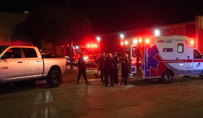 Wichita Falls police worked the scene of a pedestrian accident Saturday night on Lamar Street.
