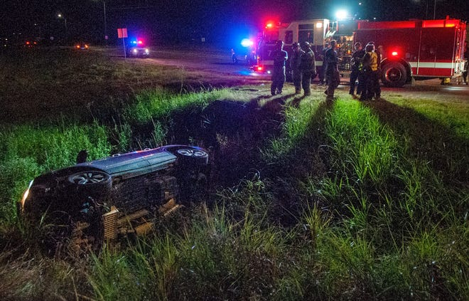 Wichita Falls emergency crews responded to the scene of a pin-in accident Saturday night.