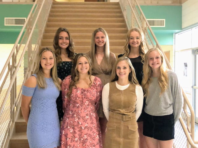 The 2021 West Branch Homecoming Court includes, front row from left, Katie Kent, Mara Woost, Morgan Loudon and Addyson Jones; and, back row from left, Kiersten Hofmann, Samantha Tubbs and Alyssa Barnett.