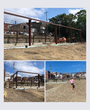 Steel framing is going up at Chestnut Lanes, 145 S.Chestnut St., as noted in these pre-pumpkin festival photos.The popular business was destroyed by fire in November 2020.
