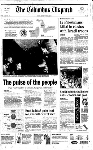 Front page of The Columbus Dispatch from Oct. 1, 2000. Katie Smith and the U.S. women's basketball win gold at the summer Olympics in Australia.